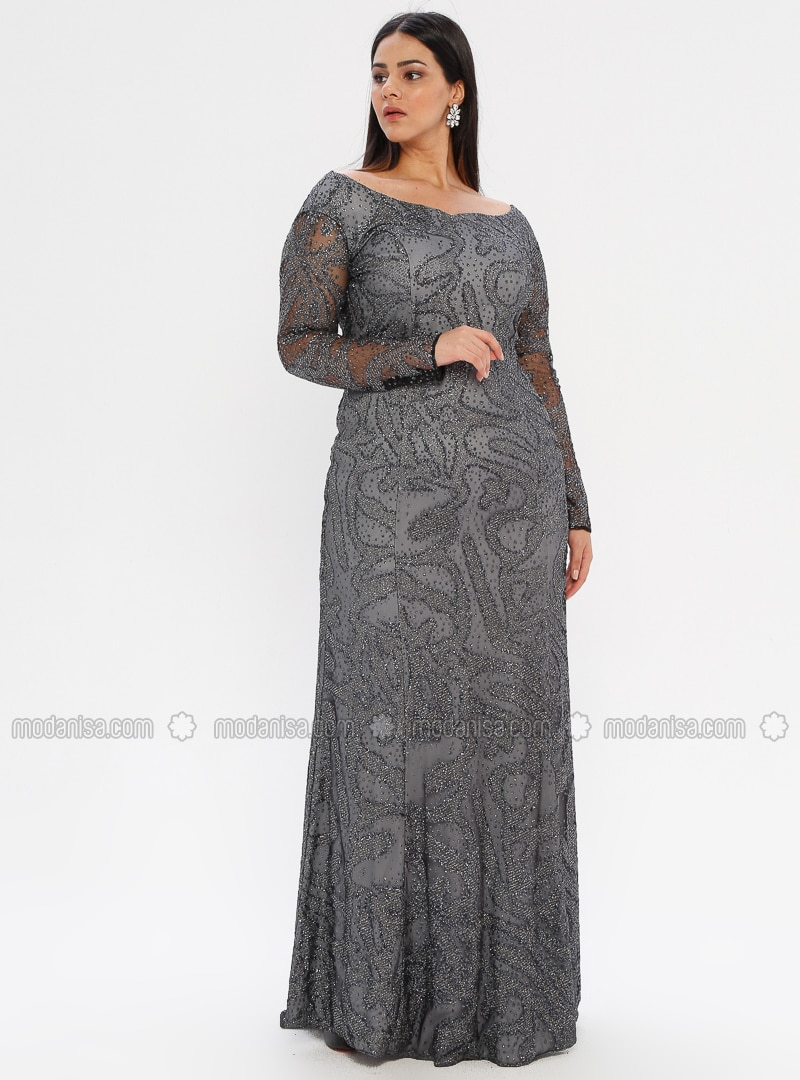 pick up detailed images best value Gray - Fully Lined - Boat neck - Muslim Plus Size Evening Dress