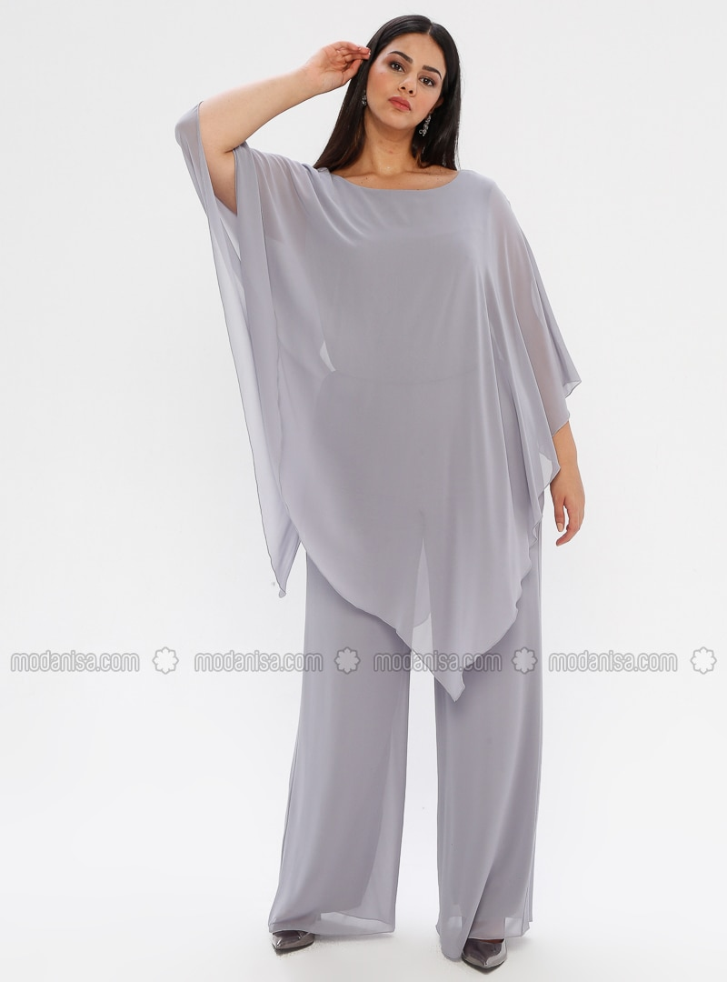 Gray - Fully Lined - Crew neck - Plus Size Dress