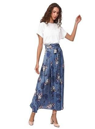 Blue - Multi - Fully Lined - Skirt