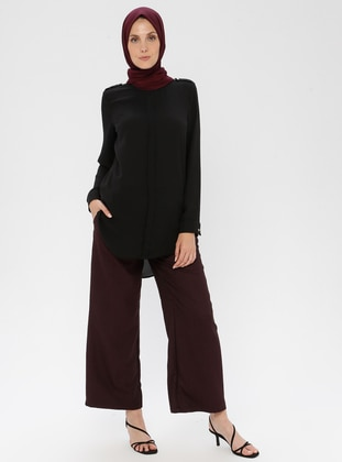 Plum - Multi - Viscose - Pants