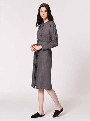 Anthracite - Stripe - Crew neck - Linen - Dress