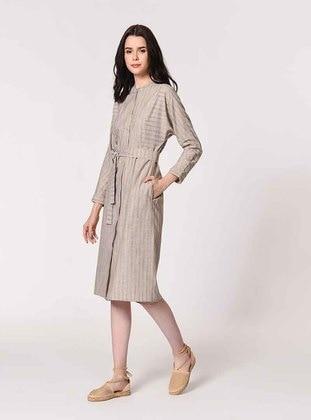 Beige - Stripe - Crew neck - Linen - Dress