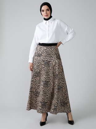 Brown - Leopard - Unlined - Skirt
