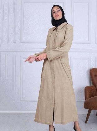Mustard - Point Collar - Unlined -  - Plus Size Abaya