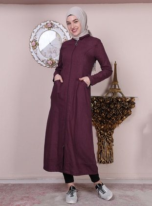 Plum - Point Collar - Unlined -  - Plus Size Abaya
