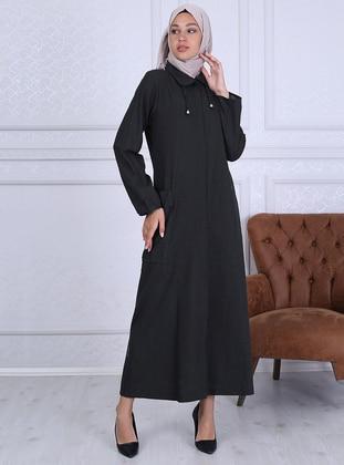 Black - Point Collar - Unlined -  - Plus Size Abaya