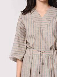 Beige - Stripe - V neck Collar -  - Blouses