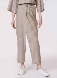Beige - Stripe - Pants