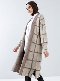 Beige - Checkered - Polka Dot - Shawl Collar - Acrylic -  - Cardigan