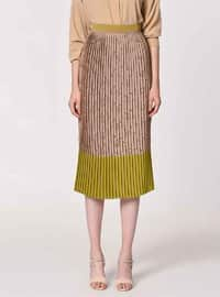 Beige - Green - Multi - Fully Lined - Viscose - Skirt