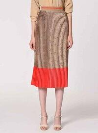 Beige - Coral - Multi - Fully Lined - Viscose - Skirt