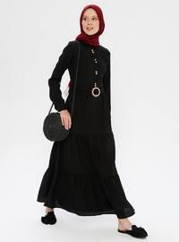 Black - Point Collar - Unlined - Dress