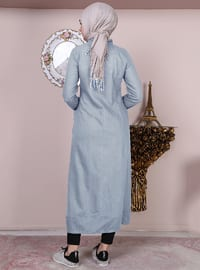 Gray - Point Collar - Unlined -  - Plus Size Abaya