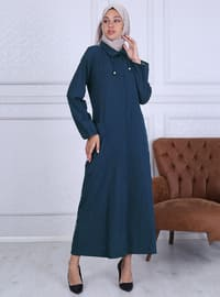 Navy Blue - Point Collar - Unlined -  - Plus Size Abaya