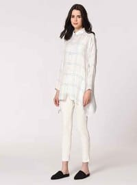 White - Multi - Point Collar -  Metal Thread - Viscose - Blouses