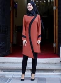 Tuğla - Astarsız - Krep - Kostüm