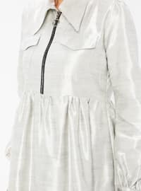 Gray - Silver tone - Point Collar - Unlined -  - Dress