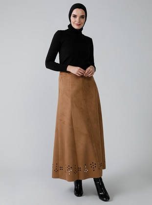 Camel - Brown - Unlined - Skirt