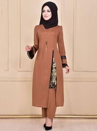 Tan - Unlined - Crew neck - Muslim Evening Dress