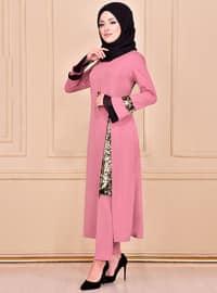 Dusty Rose - Unlined - Crew neck - Muslim Evening Dress