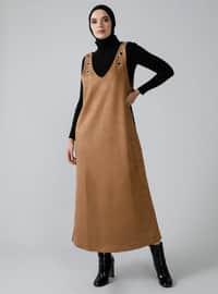 Earth - Kahverengi - V yaka - Astarsız kumaş - Elbise