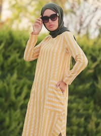 Mustard - Stripe - Crew neck - Unlined -  - Dress