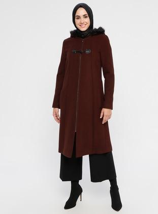 Tan - Fully Lined - Crew neck - Viscose - Coat