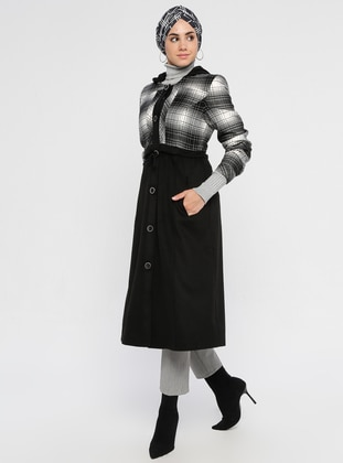 Ecru - Plaid - Fully Lined - Viscose - Coat