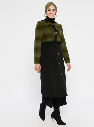 Khaki - Plaid - Fully Lined - Viscose - Coat