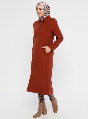 Tan - Fully Lined - Point Collar - Viscose - Coat