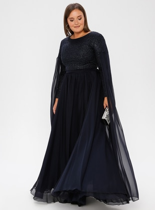 Navy Blue - Crew neck - Fully Lined - Dress