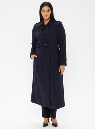 Indigo - Unlined - Viscose - Point Collar - Plus Size Coat - Nihan