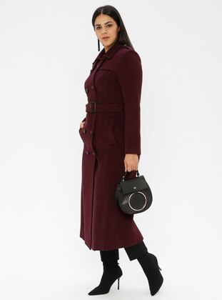 Plum - Unlined - Viscose - Point Collar - Plus Size Coat - Nihan