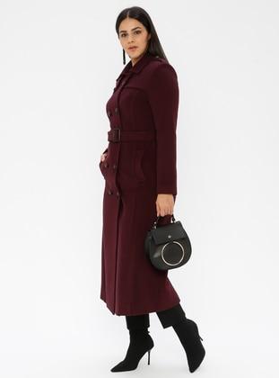 Plum - Unlined - Viscose - Point Collar - Plus Size Coat - Nihan
