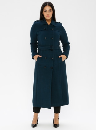 Petrol - Unlined - Viscose - Point Collar - Plus Size Coat - Nihan