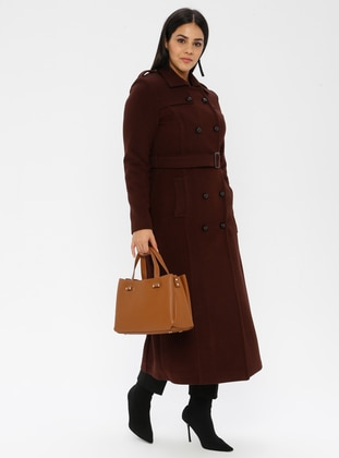 Tan - Unlined - Viscose - Point Collar - Plus Size Coat - Nihan