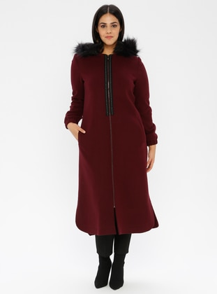 Plum - Unlined - Viscose - Crew neck - Plus Size Coat - Nihan