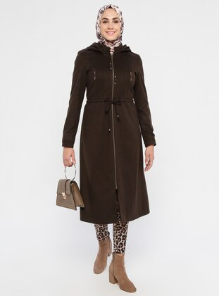Brown - Fully Lined - Crew neck - Viscose - Coat