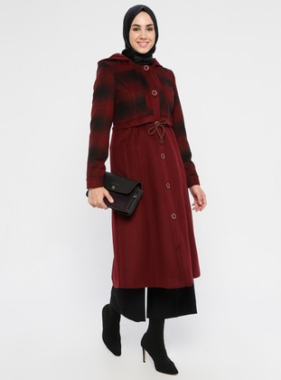 Maroon - Fully Lined - Viscose - Coat