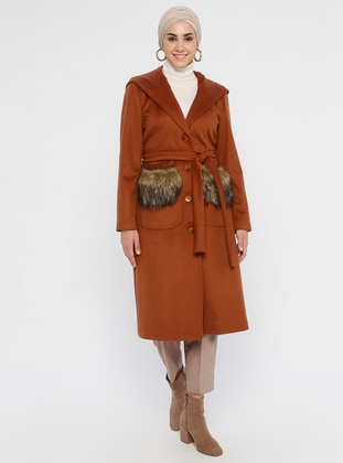 Tan - Fully Lined - Viscose - Coat