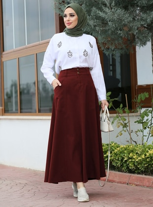 Maroon - Unlined - Cotton - Skirt