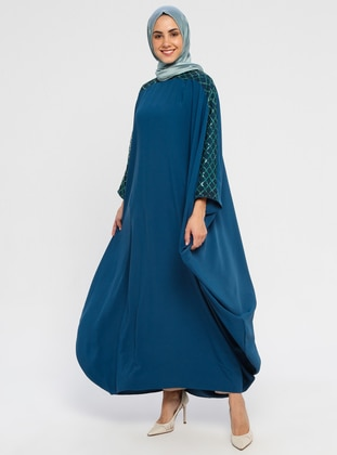 Petrol - Unlined - Crew neck - Abaya