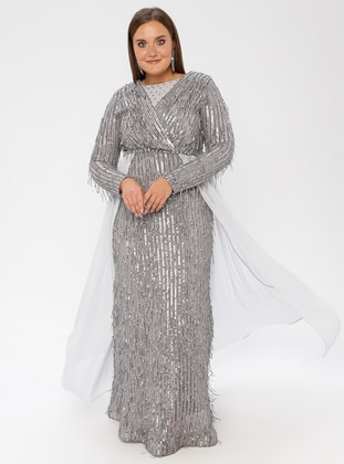 Silver tone - Crew neck - Fully Lined - Dress