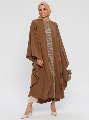 Gold - Olive Green - Unlined - Crew neck - Abaya