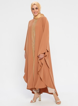 Camel - Unlined - Crew neck - Abaya