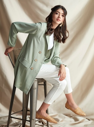 Green Almond - Stripe - Unlined - Shawl Collar - Jacket