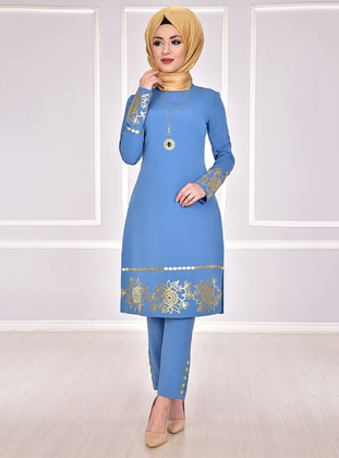 Unlined - Blue - Multi - Crew neck - Evening Suit - AYŞE MELEK TASARIM