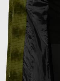 Khaki - Plaid - Fully Lined - Crew neck - Polyethylene - Viscose - Coat