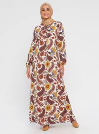 Ekru - Çok renkli - Yuvarlak yakalı - Astarsız kumaş - Viskon - Elbise