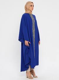 Doré - Bleu marine - Tissu non doublé - Col rond - Abaya